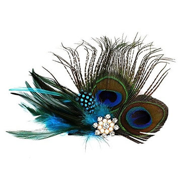 Handmade Feather Peacock Fascinator Hair Clip with Rhinestone and Faux Pearl