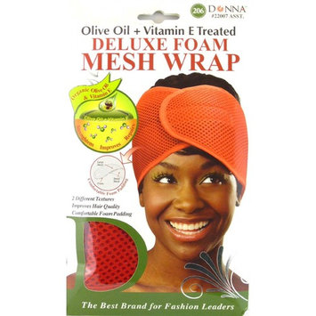 Donna Deluxe Foam Mesh Wrap, Olive Oil + Vitamin E Treated - #22007 Red, Improves hair quality, foam padding, comfortable, foam, organic, velcro closure, repairs hair, strengthen hair, conditioner, hair conditioner