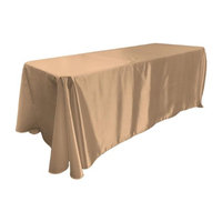 LA Linen TCbridal90X132-TaupeB13 Bridal Satin Rectangular Tablecloth Taupe - 90 x 132 in.