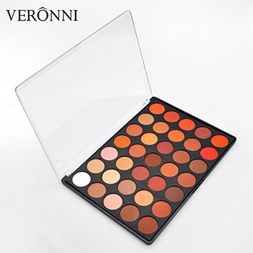 VERONNI 35 Colors Eyeshadow Palette Matte Shimmer Pigment Eye Shadow Palette Makeup Cosmetic Waterproof Long Lasting(35OM)