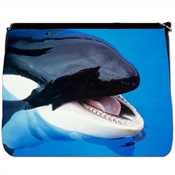 Killer Whale Splashing Black Large Messenger School Bag [Killer Whale Splashing]