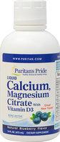 Puritan's Pride Liquid Calcium Magnesium with Vitamin D3 Blueberry-16 oz Liquid