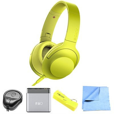 Sony Premium Hi-Res On-Ear Stereo Headphone Yellow MDR100AAP/Y w/ FiiO A1 Amp Bundle