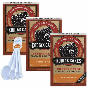 Kodiak Cakes Pumpkin Flax Pancake & Waffle Mix, Whole Grains, B Vitamins, Protein-Packed (3 Pack) bundle with Lumintrail Measuring Spoons