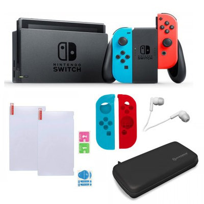 Nintendo Switch in Red and Blue with Sleevs and Accessories Bundle