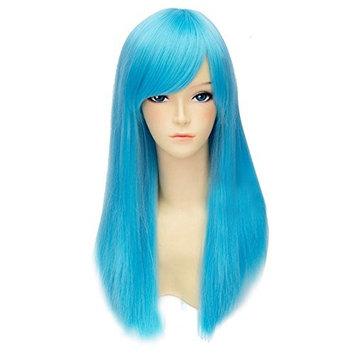 SODIAL(R) Women's Long Straight Fashion Party Wig 55cm Sky Blue