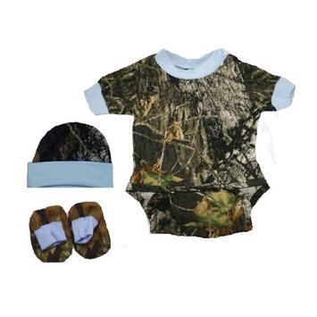 Baby Mossy Oak Camo with Blue Accents Diaper Shirt Hat and Booties Set (3-6 Month)