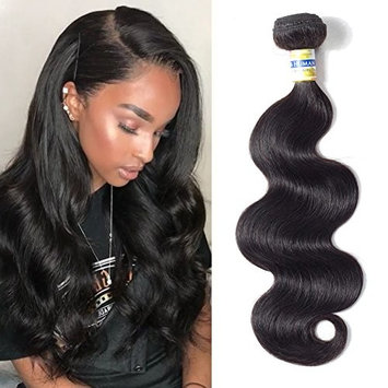 CCOLLEGE Brazilian Hair Body Wave 12 Inches 1 Bundles 10A 100% Unprocessed Virgin Human Hair Natural Black Color