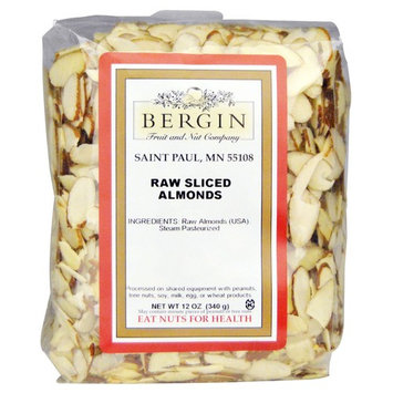 Bergin Nut Company Almonds Sliced Natural, 12-Ounce Bags (Pack of 2)