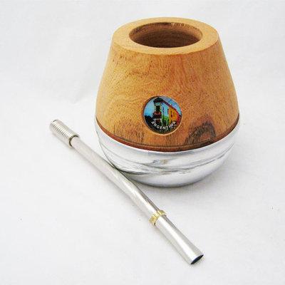 ARGENTINA MATE GOURD YERBA TEA WITH STRAW BOMBILLA CUP HANDMADE KIT SET NEW 0254