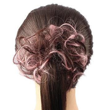 Riyang Women's Hair Ring Elastic Ponytail Holder Hair Styling Hairpieces Heat Resistant Pink with Dark Brown