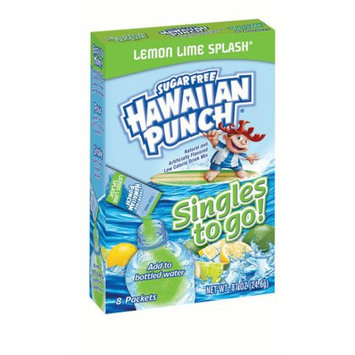 Jel Sert Hawaiian Punch Singles To Go! Drink Mix, Lemon Lime Splash, 0.87 Oz, 8 Count Box, Pack of 12