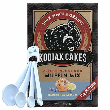 Kodiak Cakes Blueberry Lemon Muffin Mix, Protein Packed Whole Grains Non-GMO - 14 Ounce Bundle with Lumintrail Measuring Spoon Set