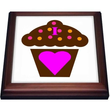 3dRose I Love Chocolate Cupcakes, Trivet with Ceramic Tile, 8 by 8-inch