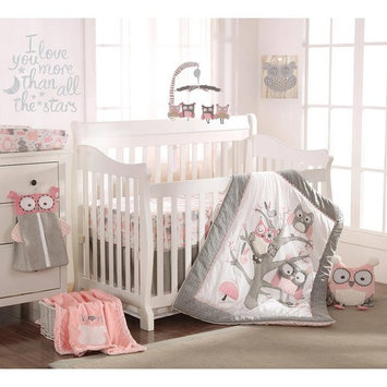 Levtex Baby Night Owl Pink 5 Piece Crib Bedding Set, Quilt, 100% Cotton Crib Fitted Sheet, Dust Ruffle, Diaper Stacker and Large Wall Decals