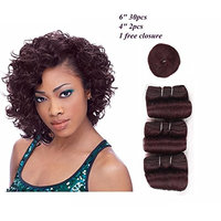 HAIR WAY Short Human Hair Weave 33 Pieces with Free Closure and Shower Cap for Black Women 33 Pieces 100% Remy Human Hair Extension Short Bump Weave Full Head Set #99J