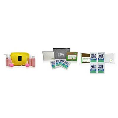 Bathroom Travel Accessories -9-Piece Travel Bottle Set and Restroom Hygiene Accessories of Disposable Toilet Seat Covers, Hand Wipes, Dry Tissue Pack and Zipper Pouch with Refill Set
