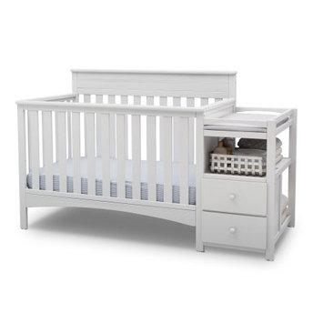 Delta Children Presley Convertible Crib N Changer, Bianca White