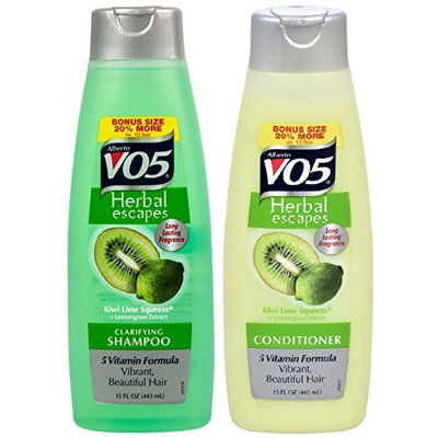 Alberto VO5 Herbal Escapes Kiwi Lime Squeeze + Lemongrass Extract Shampoo & Conditioner 15 Oz ( 2 PACK )