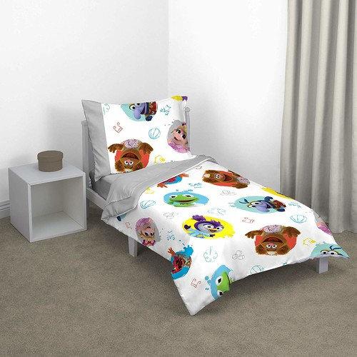 Disney Muppet Babies Friendship 4 Piece Toddler Bed Set, Turquoise/Grey/Yellow/Orange