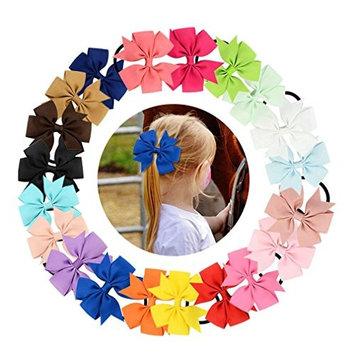 Tobatoba Baby Girls Elastics Hair Ties Hair Bows, 20 Pack 3'' Grosgrain Ribbon Pinwheel Ponytail Holder For Baby Girls Teens Toddlers Kids Children, 20 Colors