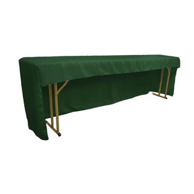 LA Linen TCpop-OB-fit-96x18x30-GreenHuP20 Open Back Polyester Poplin Fitted Tablecloth for Classroom Tables Hunter Green