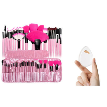 Zodaca PINK Pro 24Pcs Cosmetic Makeup Brush Set Superior Soft (24 COUNT) Eye shadow Eyeliner Powder Blush Contouring Blending Tools and Clear Water Drop Silicone Makeup Sponge Bundle