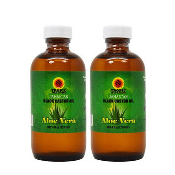 Tropic Isle Living Jamaican Black Castor Oil with Aloe Vera 4oz 'Set of 2' W/Free Applicator