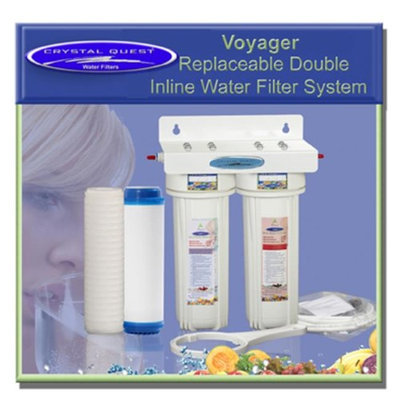 Crystal Quest CQE-IN-00308 Voyager Replaceable Double Inline Water Filter System-Ultimate