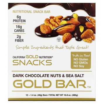 California Gold Nutrition, Gold Bar, Dark Chocolate Nuts & Sea Salt Bar, 12 Bars, 1.4 oz (40 g) Each [Flavor : Dark Chocolate Nuts & Sea Salt]