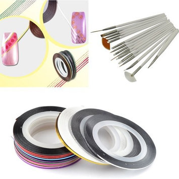 28 Color Nail Art Stripe Striping Tape Line Decoration Sticker + 15pcs Painting Brushes Pen Set by SX