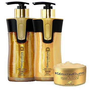 Keratin Cure Brazilian Gold & Honey Sulfate Free Shampoo Conditioner Masque Best for Damaged Dry, Curly or Frizzy Hair - Thickening for Fine/Thin Hair, Safe for Color-Treated, Keratin Treated 10oz/8oz