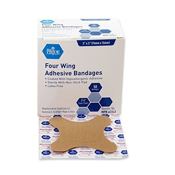 MedPride Four Wing Adhesive Bandages - Box of 50 - 3