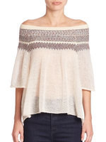 Women's Free People 'Loch Lomand' Flutter Sleeve Sweater, Size Large - Ivory