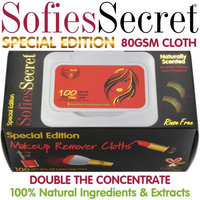 Moist Towel Services SofiesSecret Special Edition Makeup Remover Cloths 100 Count, 80 GSM Ultra Thick Cloths, NEW Formula + Embossed Texture, 100% Bamboo? 100% Natural & Organic Extracts, Cruelty Free & Vegan