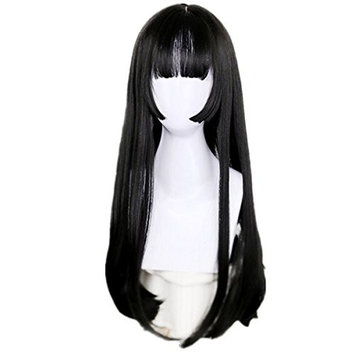 DAYISS Women's Long Straight Full Wig Cosplay Glamour Heat Resistant Neat Bang Breathable Cap