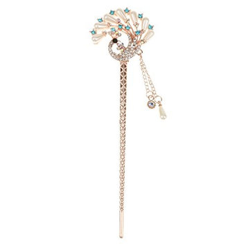 MagiDeal Vintage Crystal Rhinestone Peacock Tassel Hair Stick Hairpin - Blue, Approx.14.8 x 4.3 cm/5.83 x 1.69 inch