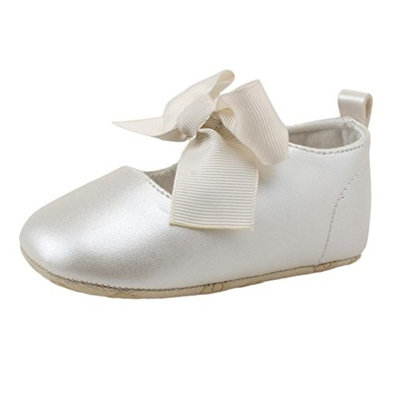 For 0-18 Months,Clode® Cute Infant Newborn Baby Girls PU Leather Bowknot Princess Crib Shoe Anti-slip Soft Sole Toddler Princess First Walker Shoes (12-18Months, G