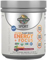 Sport Organic Plant-Based Energy+Focus Sugar Free Blackberry Cherry Garden of Life 231 grams Powder