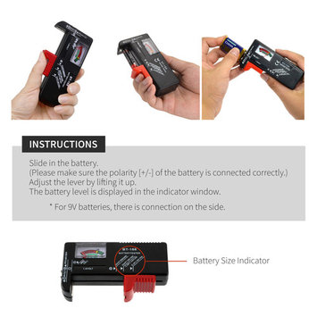 2018] RED SHIELD Black Universal Battery Tester, Check and Test Multiple Sizes. Adjustable Slider Accommodates Batteries. Easily Check Your Remaining Battery Level with Gauge Display