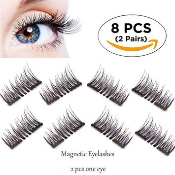 Ultra Thin 3D New Magnetic False Eyelashes Fiber Reusable Lashes Extension for Natural Look,Perfect for Deep Eyes & Round Eyes (01 Short Dual Magnetic False Eyelashes)