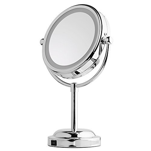 Mirror With Lights - MY CANARY LED Makeup Mirror With Battery /USB Powered,1x/5x Magnifying Light Up Mirror,Double Sided Vanity Mirror For Bathroom Or Bedroom Countertop,Desk Mirror With 360° Rotation