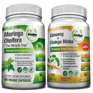GreeNatr Panax Ginseng and Ginkgo Biloba Tablets and Moringa Oleifera Capsules - Focus and Energy Pack
