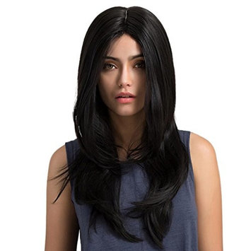 Dovewill Women's Middle Parting Long Wavy Synthetic Hair Heat Resistance Wig Daily Cosplay Costume Party Full Head Wigs Black + Hairnet
