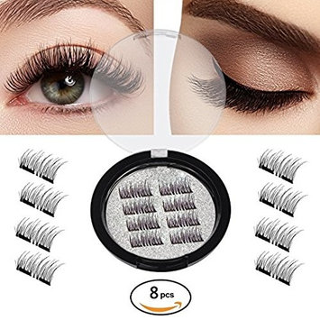 Magnetic False Eyelashes-Ultra Thin 3D Fiber Reusable Best Fake Lashes Extension for Natural Look,Perfect for Deep Set Eyes & Round Eyes 8PCS