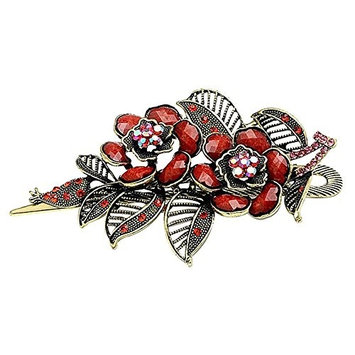 SODIAL(R)Fashion Vintage Jewelry Charm Rose Flowers With Leaves Alligator Clip Hair Clip- Red