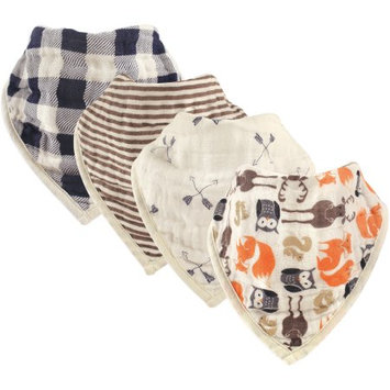 Babyvision Hudson Baby Boy and Girl Muslin Bandana Bib, 4 Pack