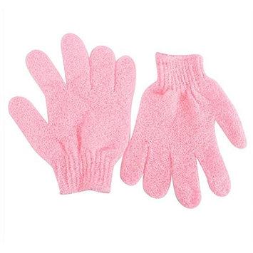 ROSENICE Bath Gloves Shower Exfoliating Nylon Shower Gloves Body Scrub 2pcs (Pink)