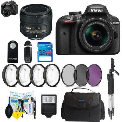 Pixibytes Nikon D3400 DSLR Digital Camera with Nikon AF-P DX NIKKOR 18-55mm f/3.5-5.6G VR Lens + Nikon AF-S NIKKOR 50mm f/1.8G Lens + Pixi Basic Bundle
