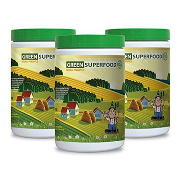 Green tea extract powder - GREENS SUPERFOOD POWDER WITH NATURAL PINEAPPLE FLAVOR 300G - increase energy performance (3 Bottles)